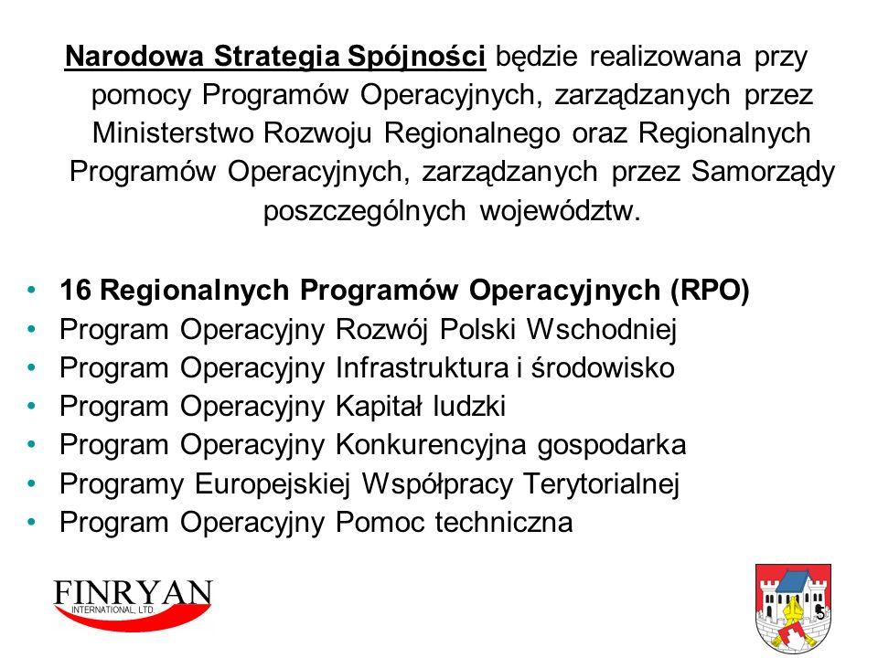 Narodowa Strategia Spójności będzie realizowana przy pomocy Programów Operacyjnych, zarządzanych przez Ministerstwo Rozwoju Regionalnego oraz Regionalnych Programów Operacyjnych, zarządzanych przez Samorządy poszczególnych województw.