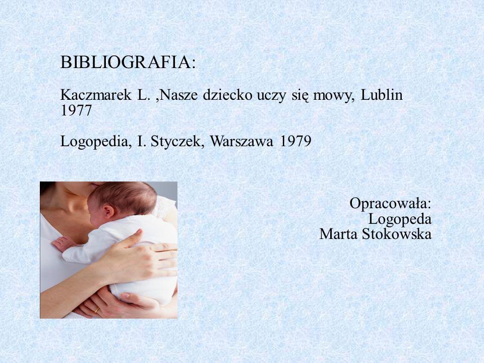 BIBLIOGRAFIA: Kaczmarek L. ,Nasze dziecko uczy się mowy, Lublin 1977