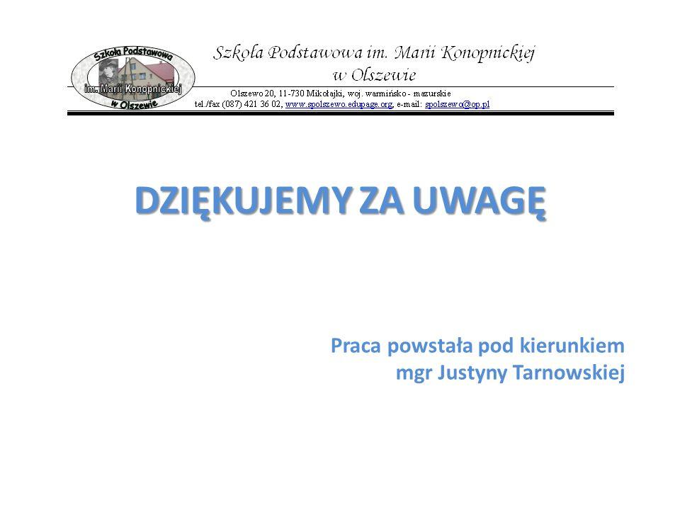Praca powstała pod kierunkiem mgr Justyny Tarnowskiej