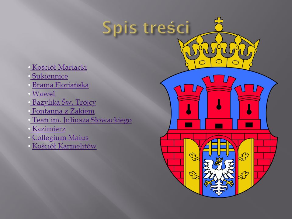 Spis treści Kościół Mariacki Sukiennice Brama Floriańska Wawel