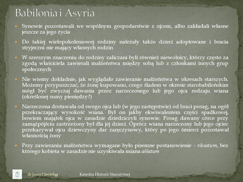 Babilonia i Asyria Synowie pozostawali we wspólnym gospodarstwie z ojcem, albo zakładali własne jeszcze za jego życia.