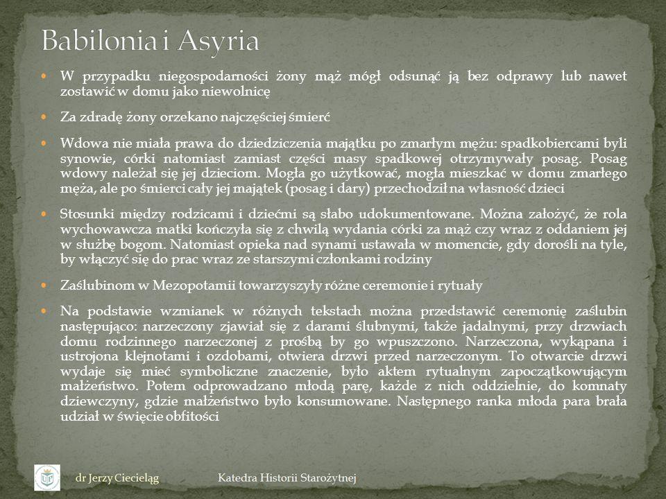 Babilonia i Asyria W przypadku niegospodarności żony mąż mógł odsunąć ją bez odprawy lub nawet zostawić w domu jako niewolnicę.