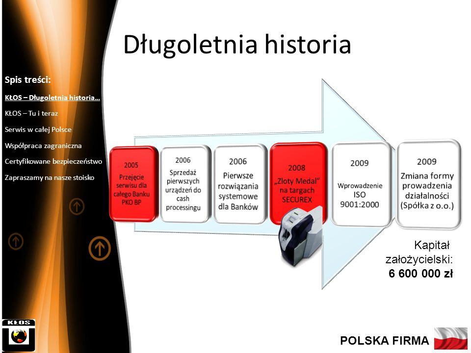 Długoletnia historia Kapitał założycielski: 6 600 000 zł POLSKA FIRMA
