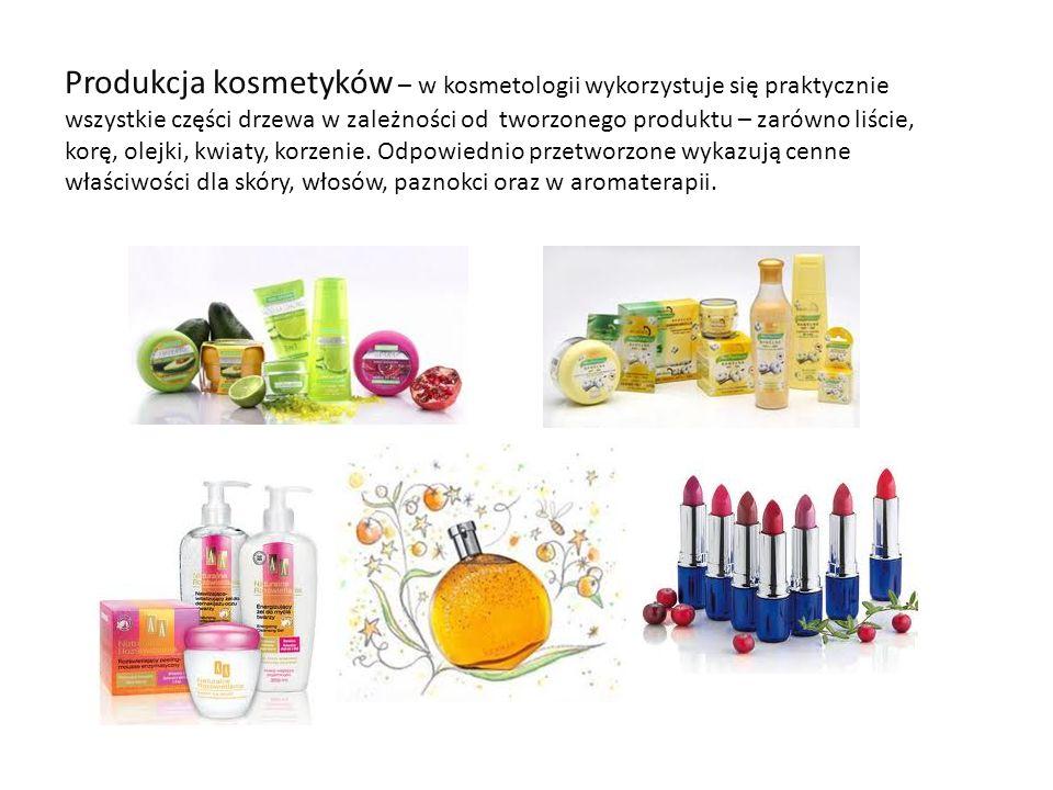 Produkcja kosmetyków – w kosmetologii wykorzystuje się praktycznie wszystkie części drzewa w zależności od tworzonego produktu – zarówno liście, korę, olejki, kwiaty, korzenie.