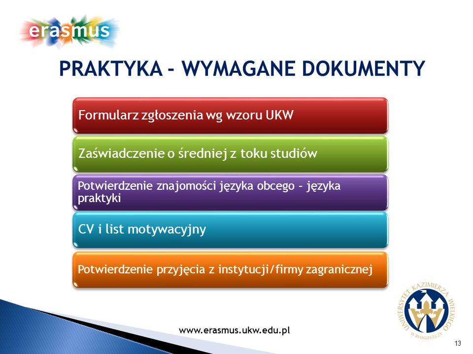 PRAKTYKA - WYMAGANE DOKUMENTY