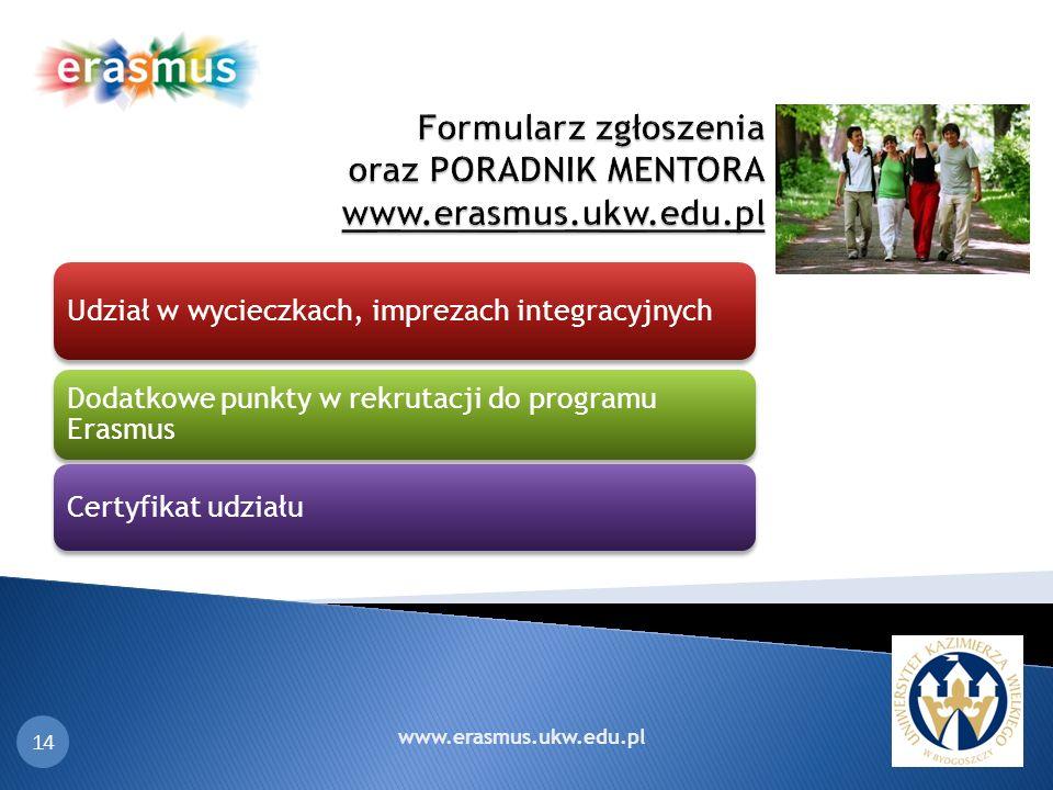 Formularz zgłoszenia oraz PORADNIK MENTORA www.erasmus.ukw.edu.pl