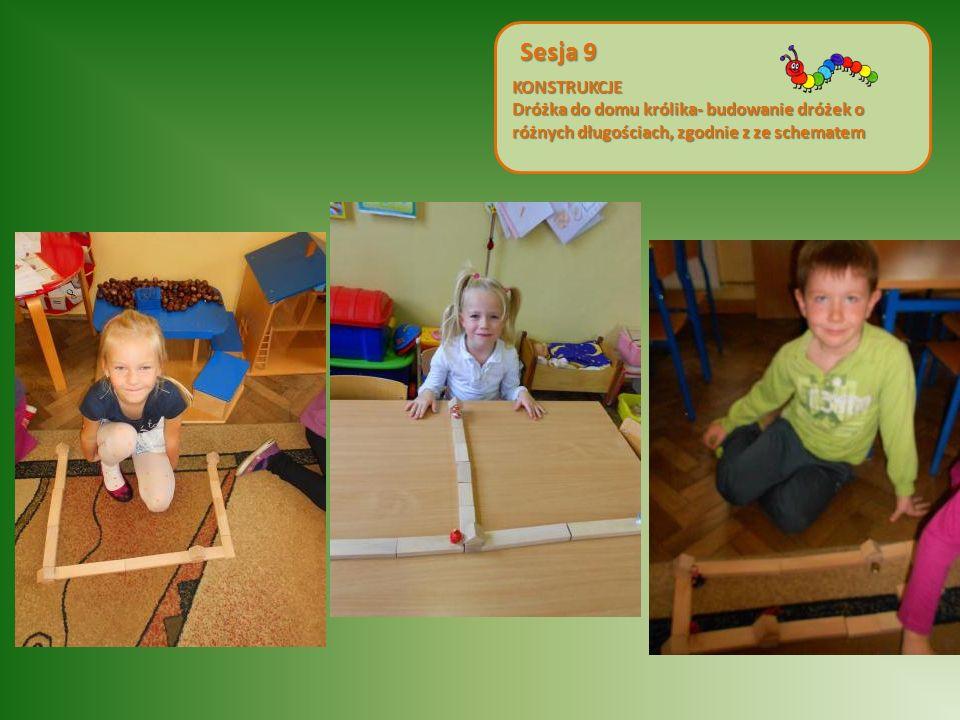 KONSTRUKCJE Dróżka do domu królika- budowanie dróżek o różnych długościach, zgodnie z ze schematem.