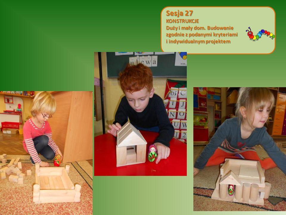 Sesja 27 KONSTRUKCJE. Duży i mały dom. Budowanie zgodnie z podanymi kryteriami.
