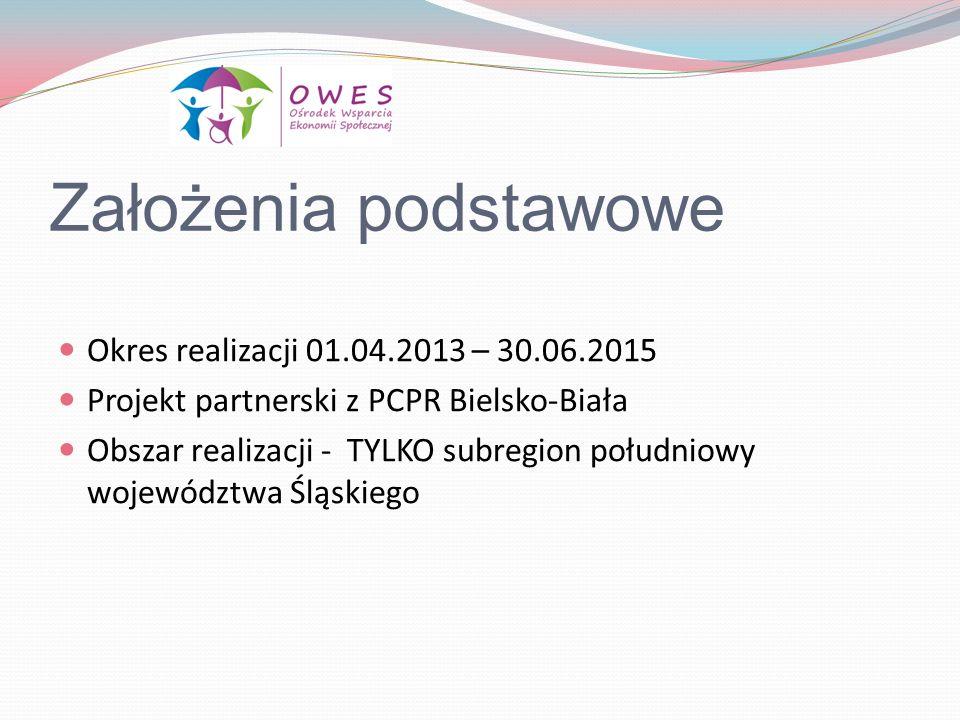 Założenia podstawowe Okres realizacji 01.04.2013 – 30.06.2015
