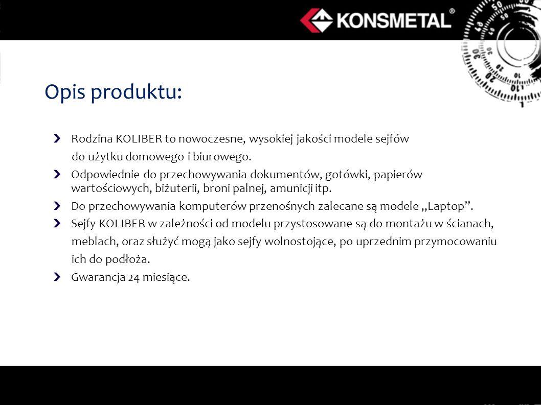 Opis produktu: Rodzina KOLIBER to nowoczesne, wysokiej jakości modele sejfów. do użytku domowego i biurowego.