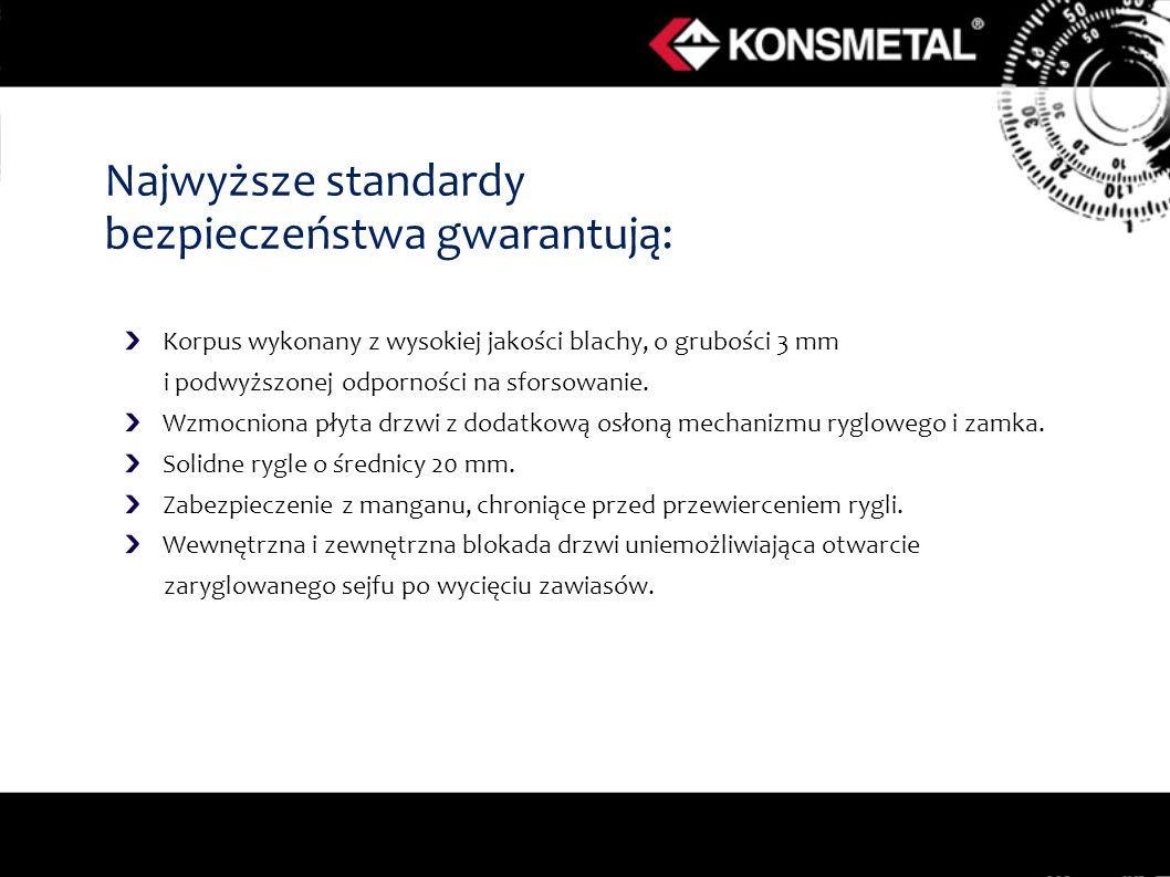 Najwyższe standardy bezpieczeństwa gwarantują: