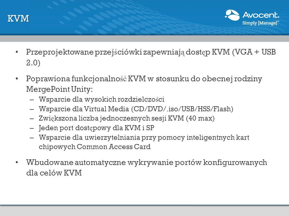 KVM Przeprojektowane przejściówki zapewniają dostęp KVM (VGA + USB 2.0)