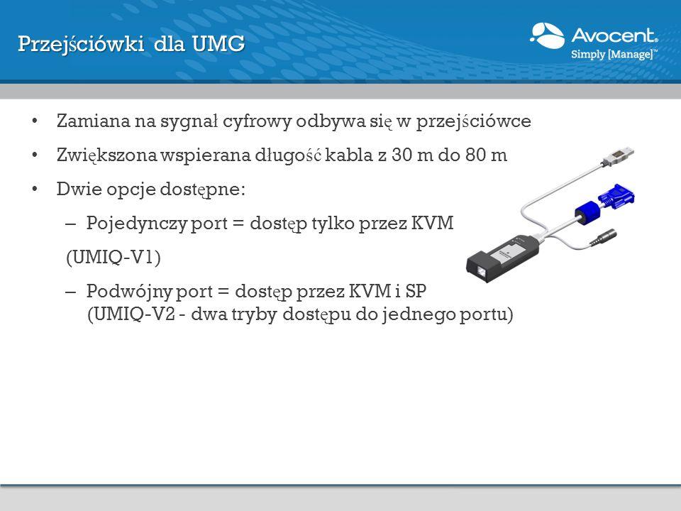 Przejściówki dla UMG Zamiana na sygnał cyfrowy odbywa się w przejściówce. Zwiększona wspierana długość kabla z 30 m do 80 m.