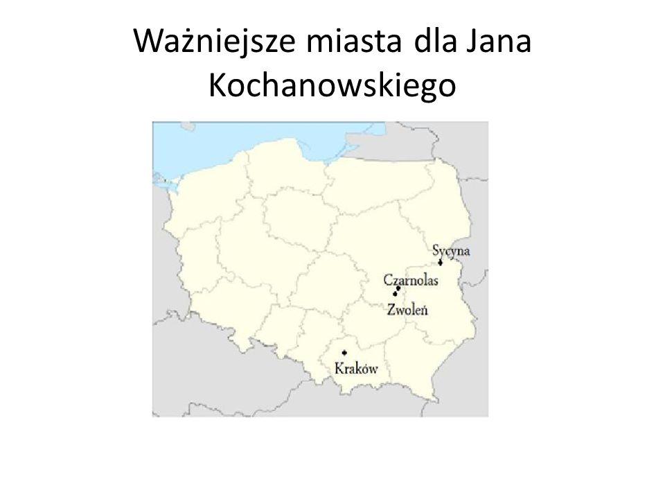Ważniejsze miasta dla Jana Kochanowskiego