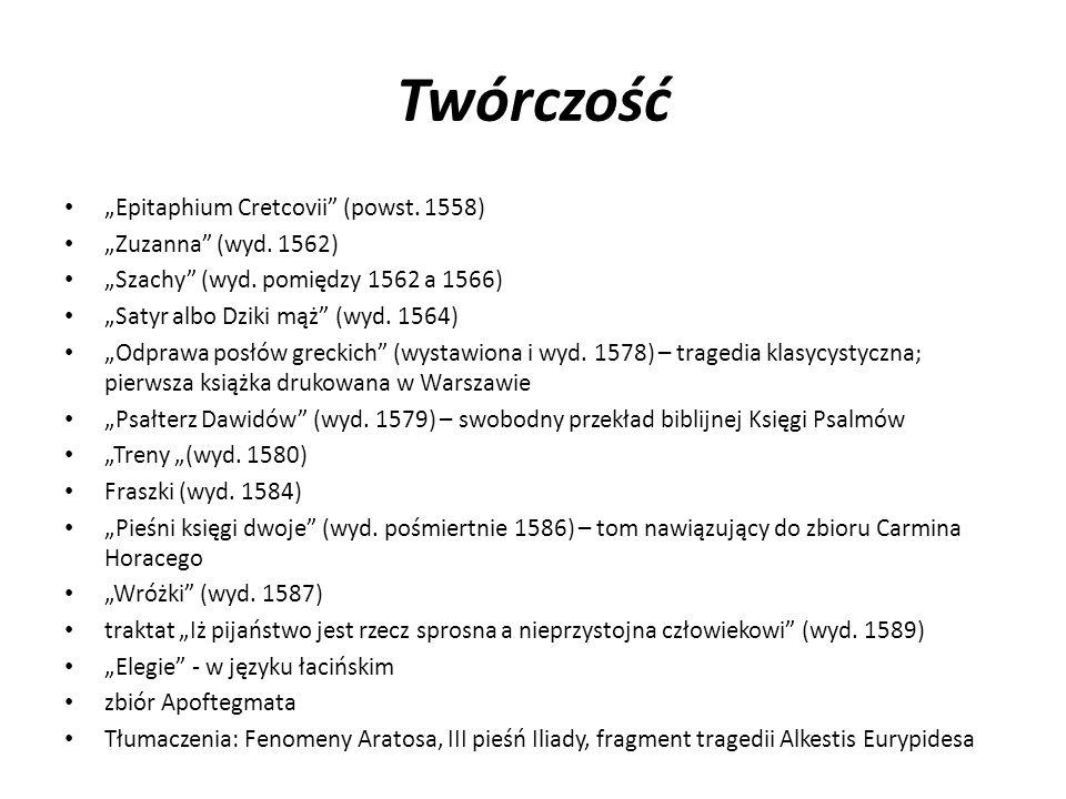 """Twórczość """"Epitaphium Cretcovii (powst. 1558) """"Zuzanna (wyd. 1562)"""