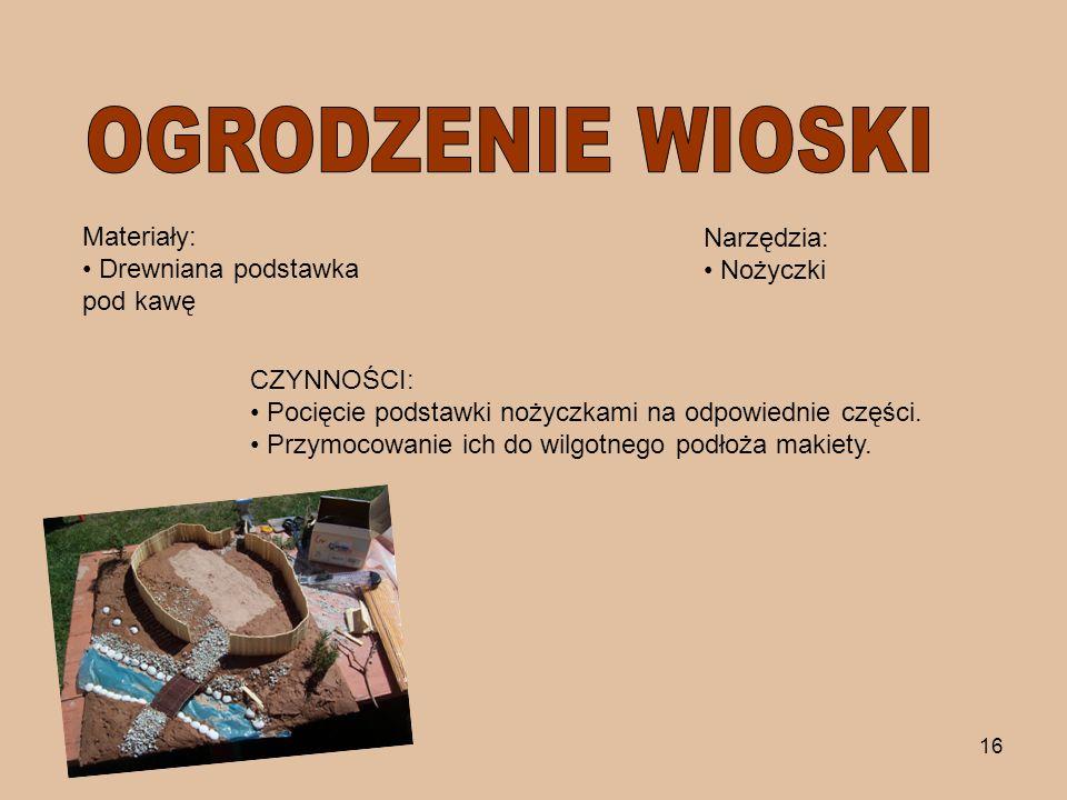 OGRODZENIE WIOSKI Materiały: Drewniana podstawka pod kawę Narzędzia: