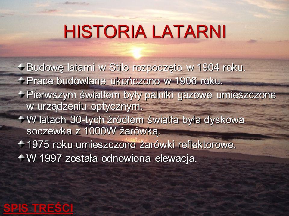 HISTORIA LATARNI SPIS TREŚCI