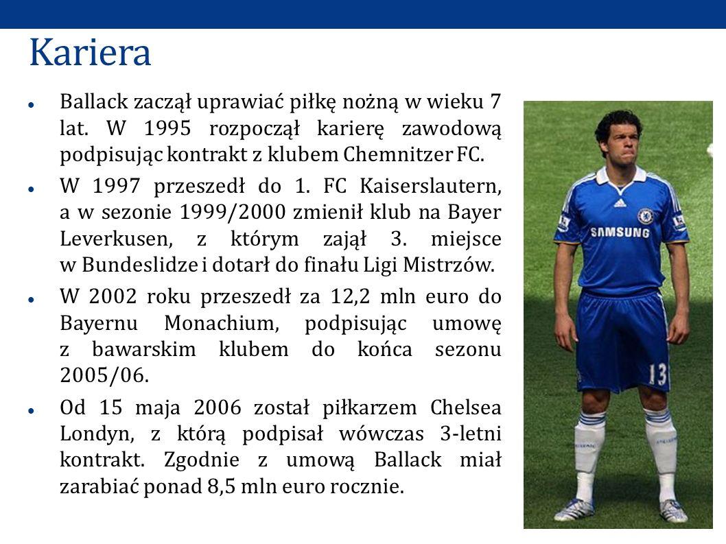 Kariera Ballack zaczął uprawiać piłkę nożną w wieku 7 lat. W 1995 rozpoczął karierę zawodową podpisując kontrakt z klubem Chemnitzer FC.