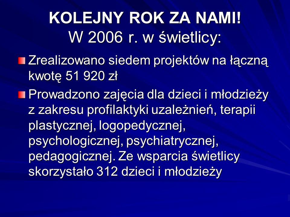 KOLEJNY ROK ZA NAMI! W 2006 r. w świetlicy: