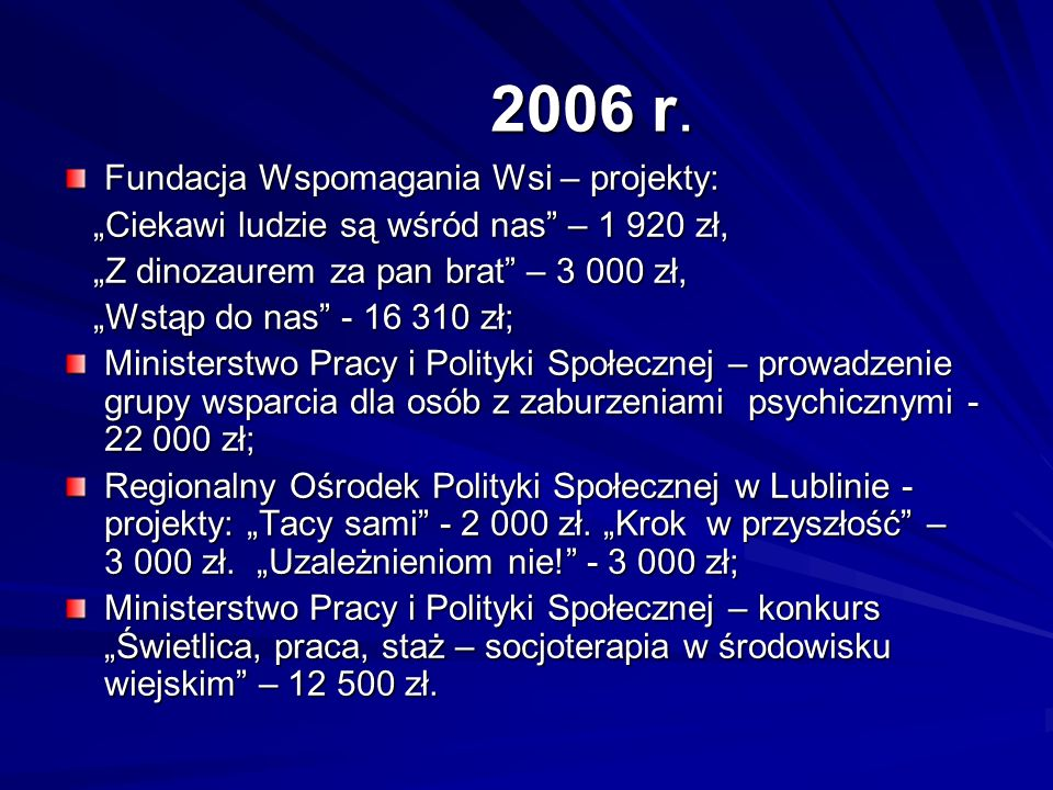 2006 r. Fundacja Wspomagania Wsi – projekty: