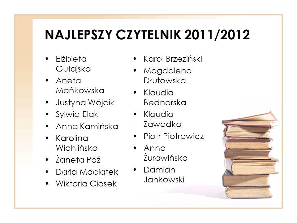 NAJLEPSZY CZYTELNIK 2011/2012 Elżbieta Gułajska Aneta Mańkowska