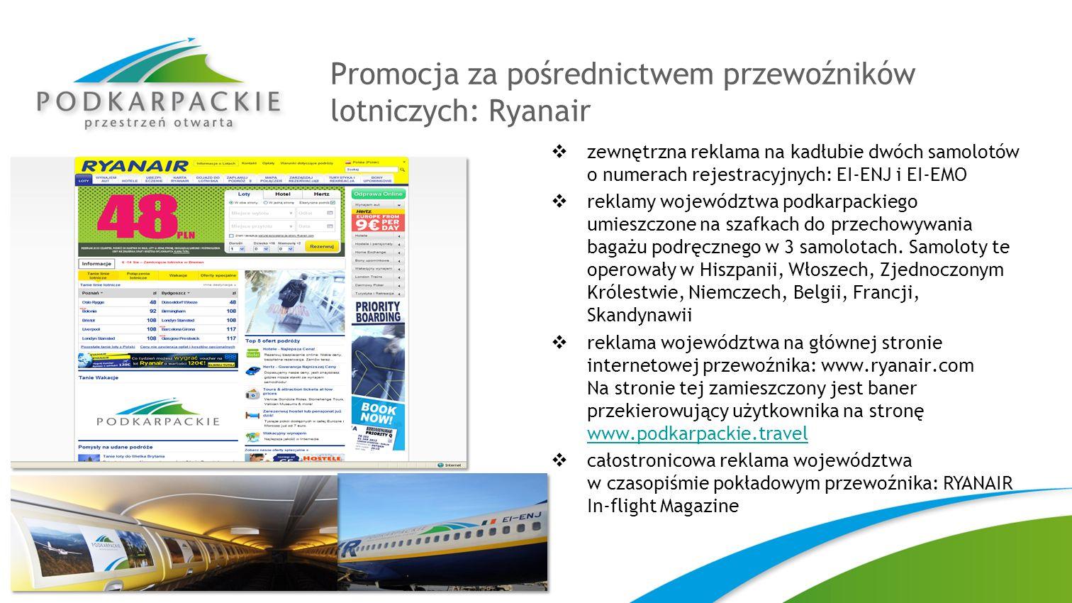 Promocja za pośrednictwem przewoźników lotniczych: Ryanair