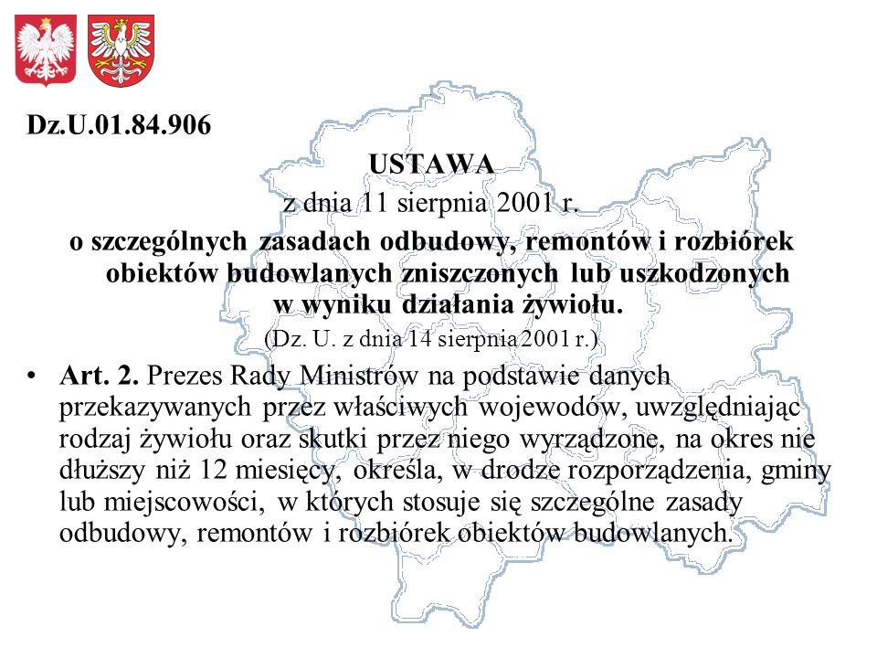 Dz.U.01.84.906 USTAWA z dnia 11 sierpnia 2001 r.
