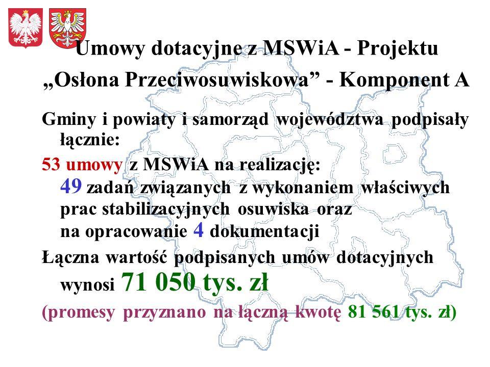 """Umowy dotacyjne z MSWiA - Projektu """"Osłona Przeciwosuwiskowa - Komponent A"""