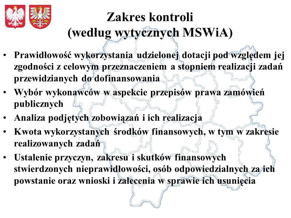 Zakres kontroli (według wytycznych MSWiA)