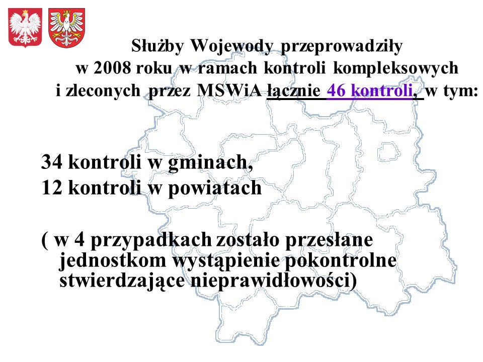 34 kontroli w gminach, 12 kontroli w powiatach