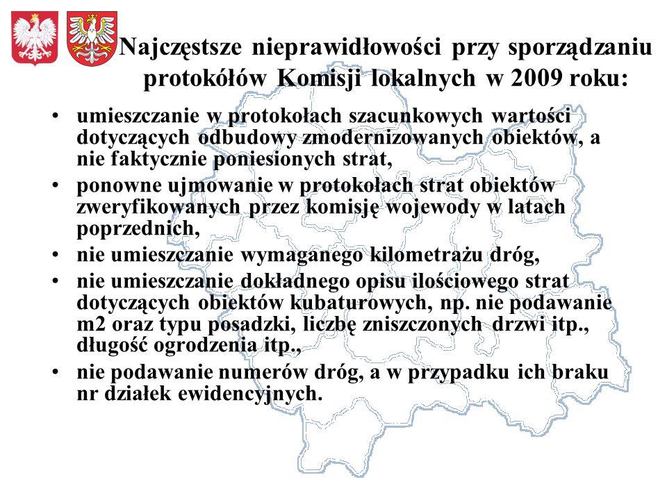 Najczęstsze nieprawidłowości przy sporządzaniu protokółów Komisji lokalnych w 2009 roku: