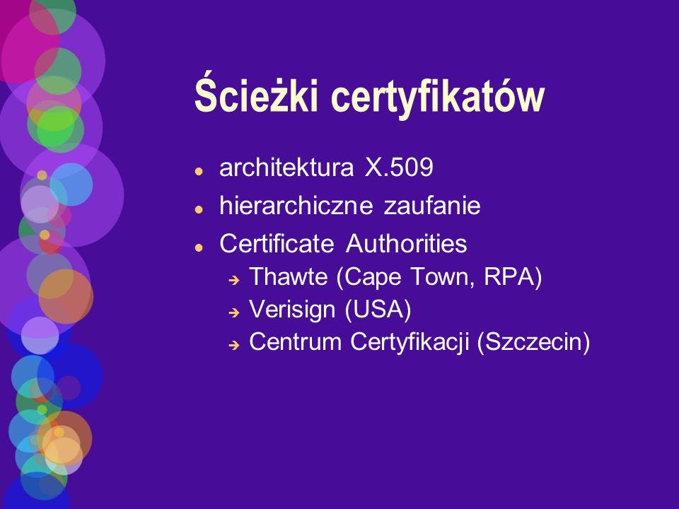 Ścieżki certyfikatów architektura X.509 hierarchiczne zaufanie