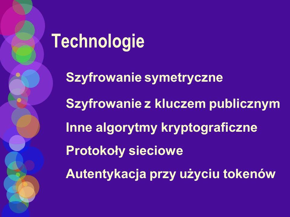 Technologie Szyfrowanie symetryczne Szyfrowanie z kluczem publicznym