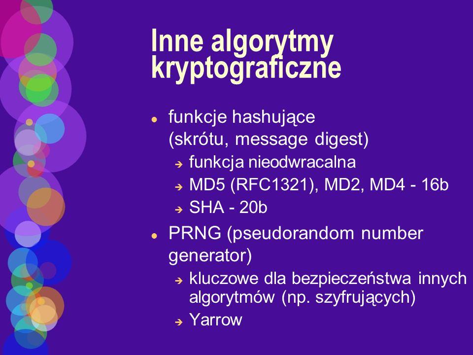 Inne algorytmy kryptograficzne