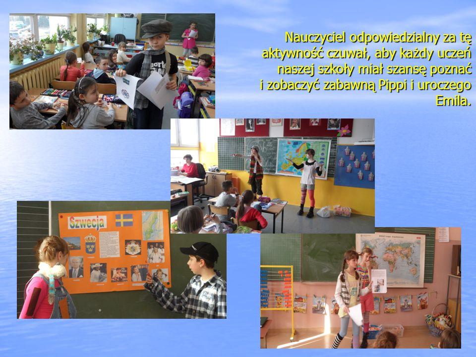 Nauczyciel odpowiedzialny za tę aktywność czuwał, aby każdy uczeń naszej szkoły miał szansę poznać i zobaczyć zabawną Pippi i uroczego Emila.