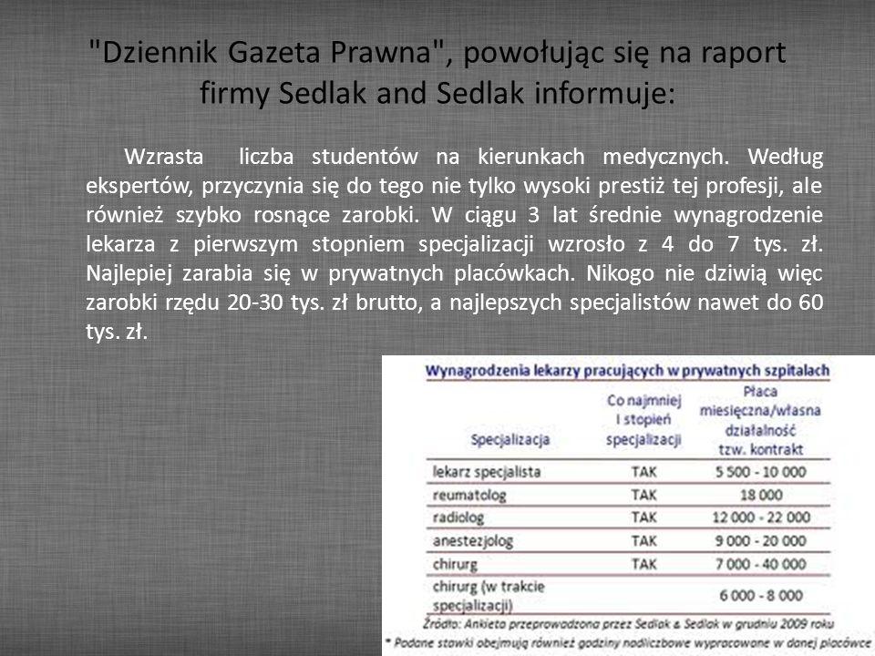 Dziennik Gazeta Prawna , powołując się na raport firmy Sedlak and Sedlak informuje: