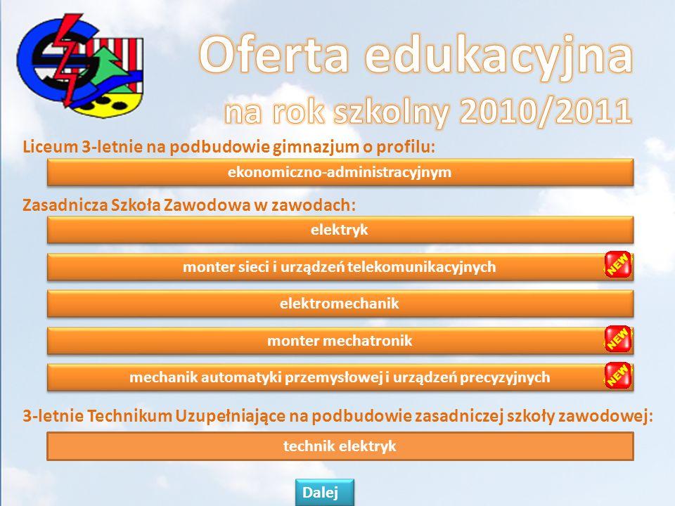 Oferta edukacyjna na rok szkolny 2010/2011