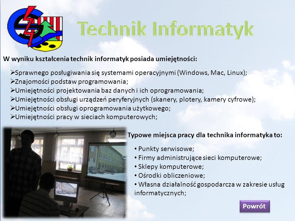 Technik Informatyk W wyniku kształcenia technik informatyk posiada umiejętności: