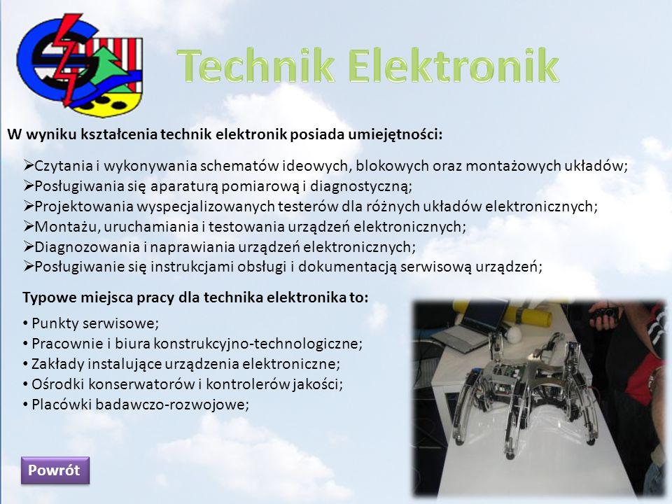 Technik Elektronik W wyniku kształcenia technik elektronik posiada umiejętności: