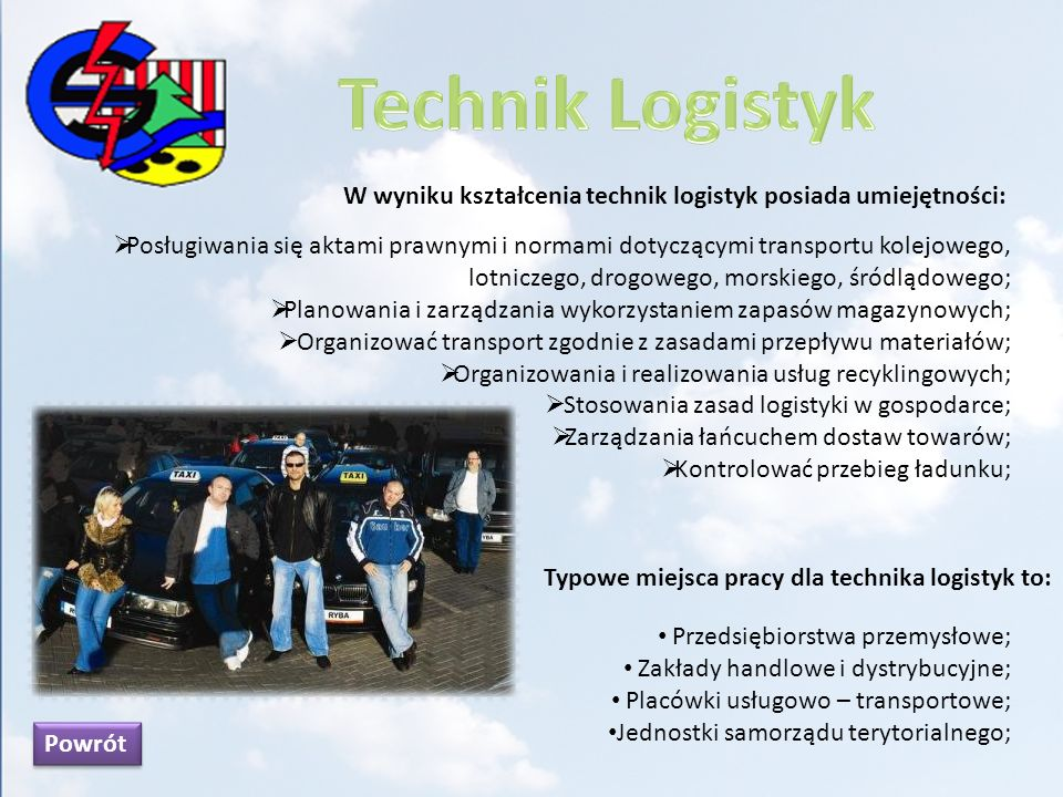 Technik Logistyk W wyniku kształcenia technik logistyk posiada umiejętności: