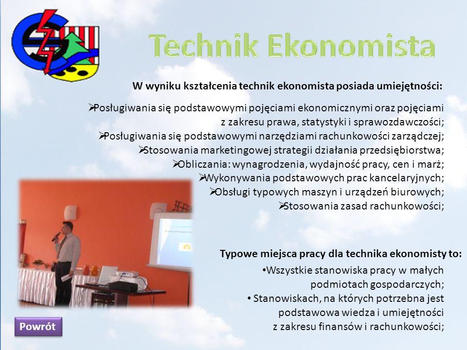 Technik Ekonomista W wyniku kształcenia technik ekonomista posiada umiejętności: