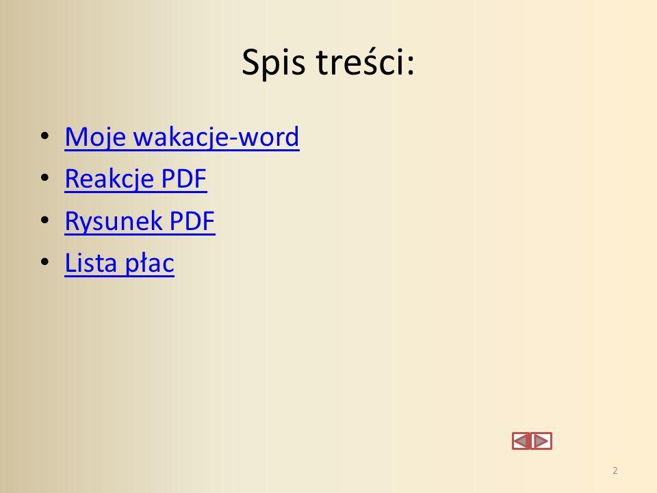 Spis treści: Moje wakacje-word Reakcje PDF Rysunek PDF Lista płac