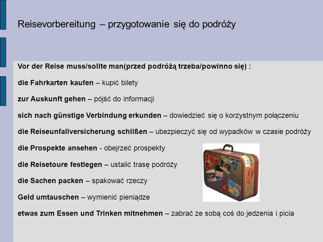 Reisevorbereitung – przygotowanie się do podróży
