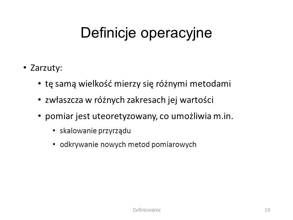 Definicje operacyjne Zarzuty: