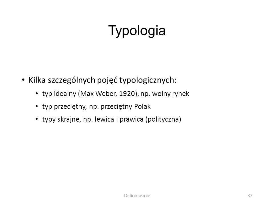 Typologia Kilka szczególnych pojęć typologicznych: