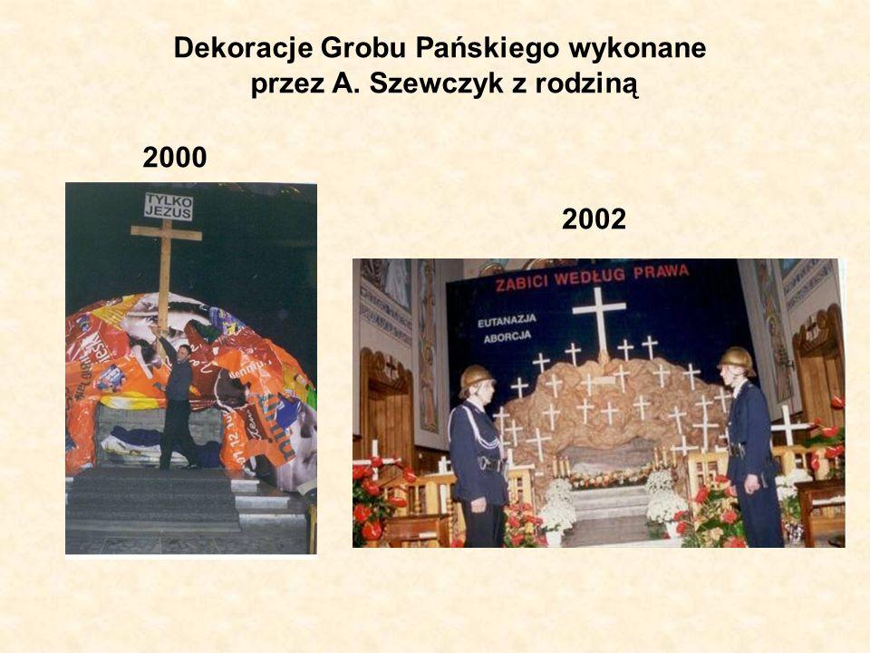 Dekoracje Grobu Pańskiego wykonane przez A. Szewczyk z rodziną