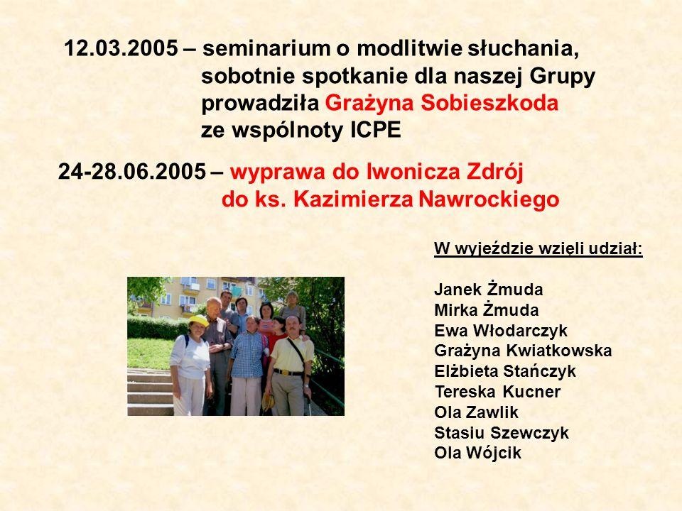 12.03.2005 – seminarium o modlitwie słuchania, sobotnie spotkanie dla naszej Grupy prowadziła Grażyna Sobieszkoda ze wspólnoty ICPE