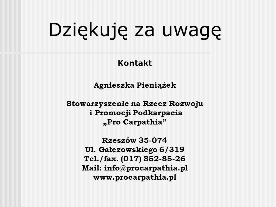 Dziękuję za uwagę Kontakt Agnieszka Pieniążek