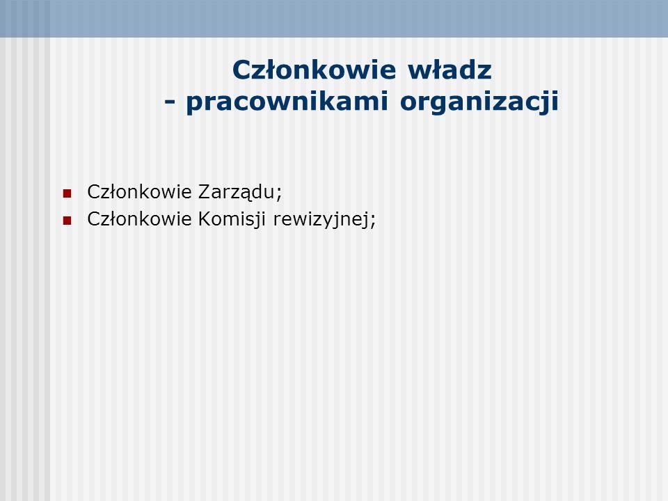 Członkowie władz - pracownikami organizacji