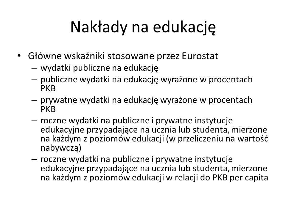 Nakłady na edukację Główne wskaźniki stosowane przez Eurostat